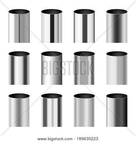 Chrome metal polished gradients corresponding to cylinder pipe vector set. Gradient aluminium cylinder illustration collection