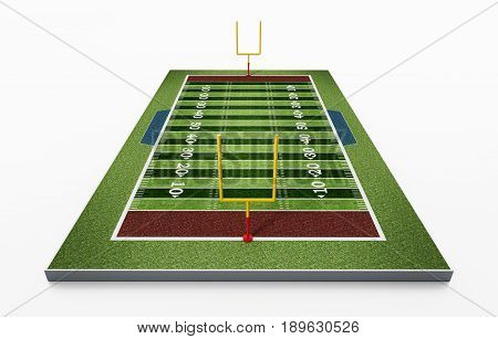 American football field isolated on white background. 3D illustration.