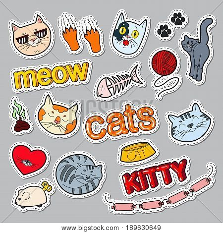 Funny Cats Doodle. Pets Stickers, Badges and Patches with Cat and Kitty. Vector illustration