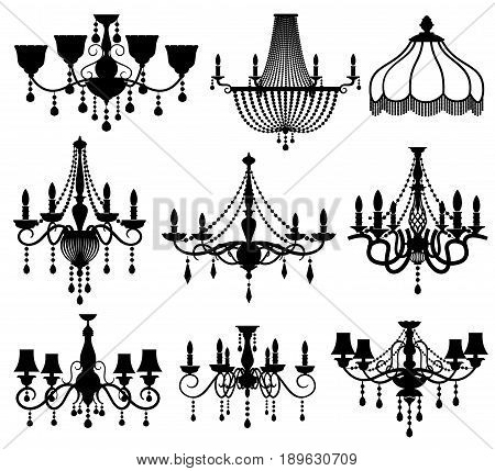 Classic crystal glass antique elegant chandeliers black vector silhouettes. Antique lamp for interior illustration