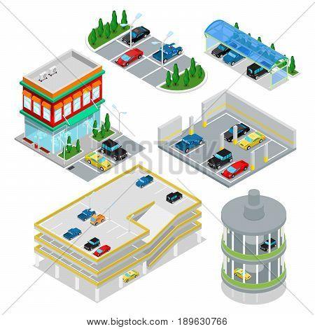 Isometric Car Parking Set. City Transportation. Underground Parking Area. Vector flat 3d illustration