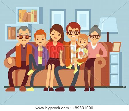 Happy family sitting on sofa. Grandpa and grandma, parents and kids flat vector illustration. Mother and father with children on sofa
