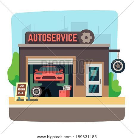 Car repair mechanic shop with automobile inside auto garage vector illustration. Auto service repair garage