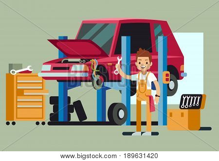 Smiling professional car repair man fixing automobile in auto service center vector concept. Professional mechanic in car service auto illustration
