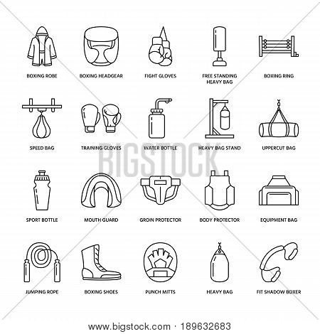 Boxing vector line icons. Punchbag, boxer gloves, ring, heavy bags, punching mitts. Sport training signs set, box championship pictogram with editable stroke for club, equipment store.