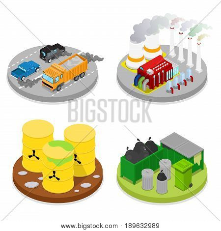 Isometric Environmental Pollution Set. Chemical Waste. Industrial Building. Vector flat 3d illustration