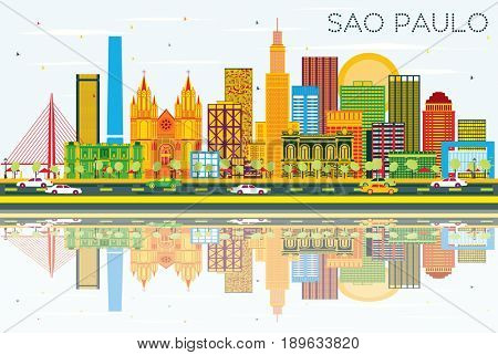 Sao Paulo Skyline with Gray Buildings, Blue Sky and Reflections. Business Travel and Tourism Concept with Modern Buildings. Image for Presentation Banner Placard and Web Site.