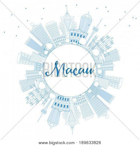 Outline Macau Skyline with Blue Buildings and Copy Space. Business Travel and Tourism Concept with Modern Architecture. Image for Presentation Banner Placard and Web Site.