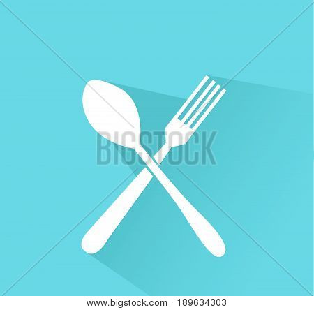 crossed fork and spoon icon flat design