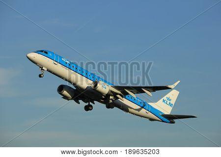 Amsterdam the Netherlands - June 1st 2017: PH-EZT KLM Cityhopper Embraer ERJ-190STD taking off from Polderbaan Runway Amsterdam Airport Schiphol
