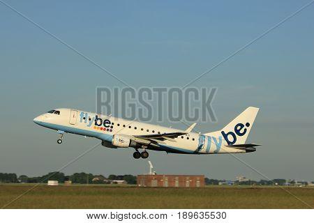 Amsterdam the Netherlands - June 1st 2017: G-FBJI Flybe Embraer ERJ-175 taking off from Polderbaan Runway Amsterdam Airport Schiphol