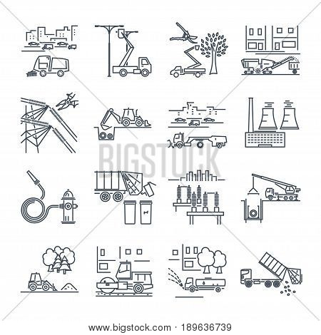 set of thin line icons public utility construction installation operation supply maintenance