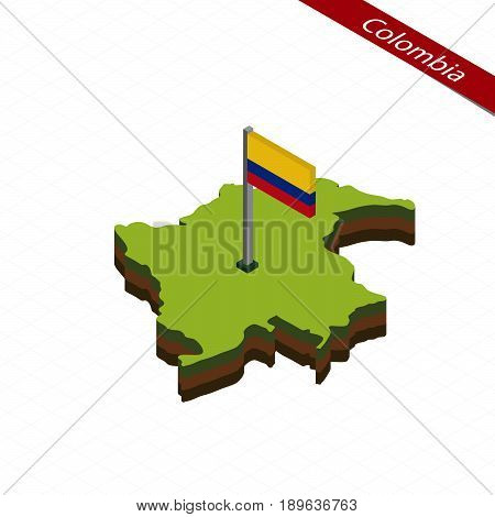 Colombia Isometric Map And Flag. Vector Illustration.