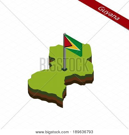 Guyana Isometric Map And Flag. Vector Illustration.