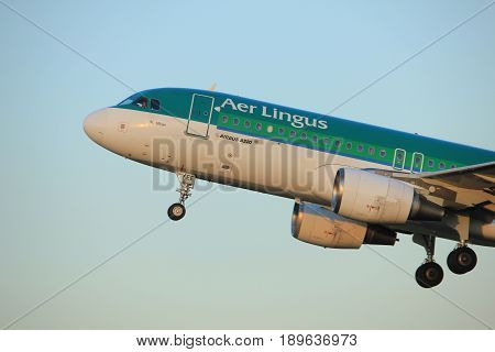 Amsterdam the Netherlands - June 1st 2017: EI-DEE Aer Lingus Airbus A320-214 taking off from Polderbaan Runway Amsterdam Airport Schiphol
