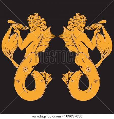 Vector hand drawn illustration of triton in realistic line style. Mythology artwork. Template for card poster bannerprint for t-shirt.