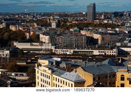 RIGA, LATVIA - OCTOBER 16, 2016: Aerial view to the city of Riga.  With 639,630 inhabitants (2016), Riga is the largest city in the Baltic countries and home to one third of Latvia's population
