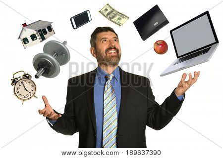 Hispanic mature businessman confidently juggling multiple objects