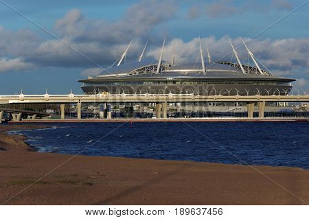 ST. PETERSBURG, RUSSIA - JUNE 1, 2017: View to the stadium Piter Arena in a summer evening. The opening match of FIFA Confederations Cup will take place here on June 17