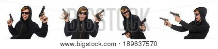 Aggressive man with gun isolated on white