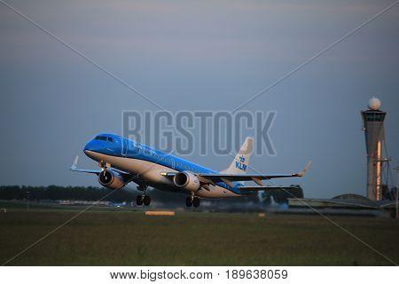 Amsterdam the Netherlands - June 1st 2017: PH-EZD KLM Cityhopper Embraer ERJ-190STD taking off from Polderbaan Runway Amsterdam Airport Schiphol