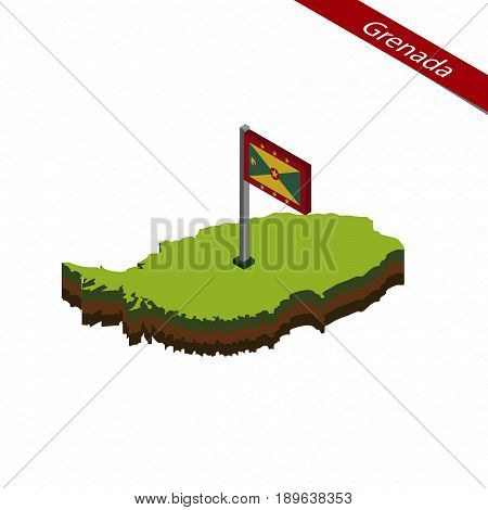 Grenada Isometric Map And Flag. Vector Illustration.