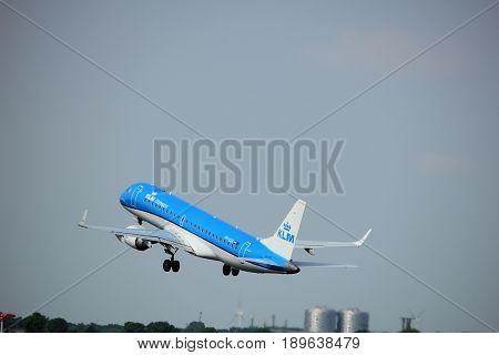 Amsterdam the Netherlands - June 2nd 2017: PH-EZK KLM Cityhopper Embraer ERJ-190STD taking off from Polderbaan Runway Amsterdam Airport Schiphol