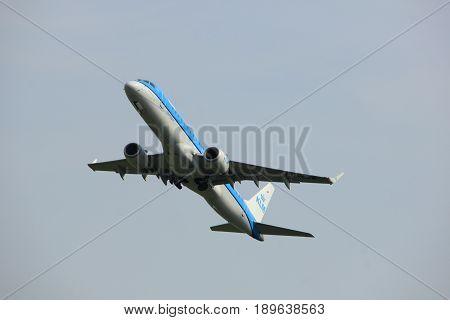 Amsterdam the Netherlands - June 2nd 2017: PH-EZR KLM Cityhopper Embraer ERJ-190STD taking off from Polderbaan Runway Amsterdam Airport Schiphol