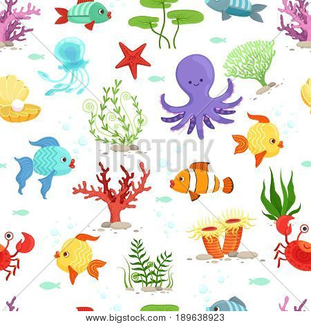 Funny underwater life with sea plants and fishes. Vector seamless pattern. Fish animal in ocean, wallpaper with sea wildlife illustration