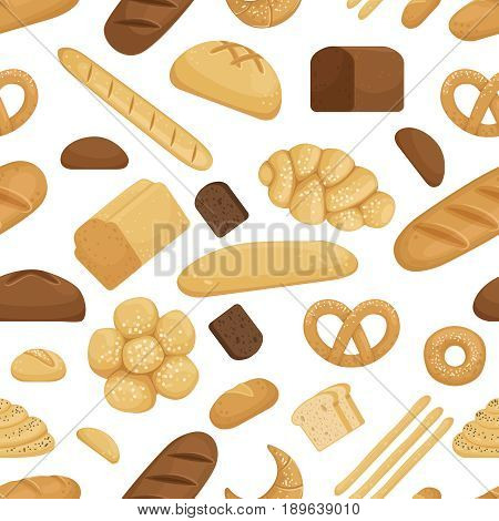 Bread and other bakery foods in funny cartoon style. Vector seamless pattern. Illustration of bread drawing pattern