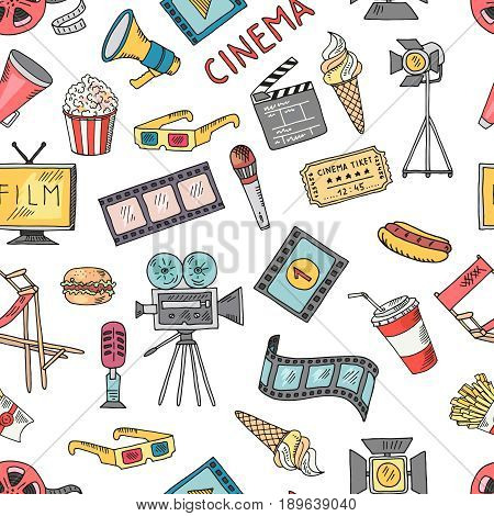 Cinema collection set. Vector seamless pattern of cinematography elements. Background with video cinematography, movie and entertainment illustration