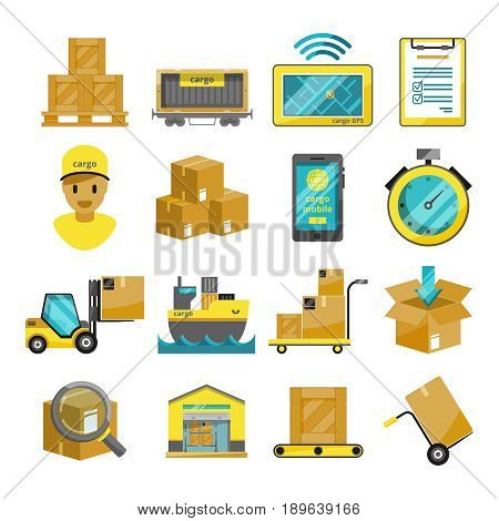 Container boxes, trucks, ships and other cargo icons. Vector illustrations. Box container for transportation, shipping package and export logistic