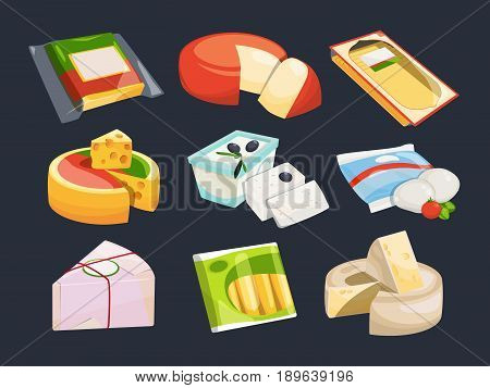Different packaging of cheeses. Vector illustration set of variation cheese fresh