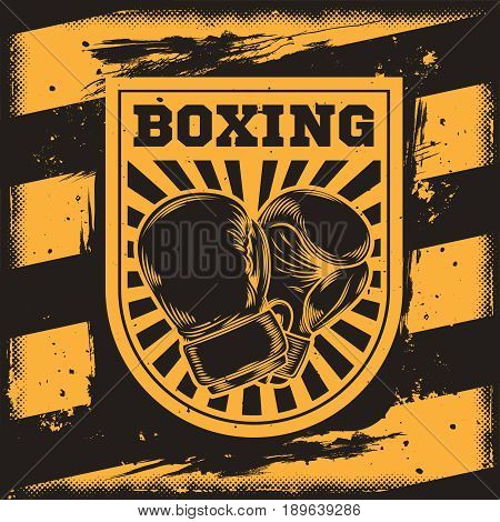 Vector conceptual motivational poster for a boxing club, boxing hall with a silhouette of a boxing gloves. Excellent advertising poster for the championship boxing