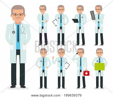 Doctor character creation set. The pediatrician, physician, medic. Icons with different types of faces, emotions, front, rear side. Vector flat illustration