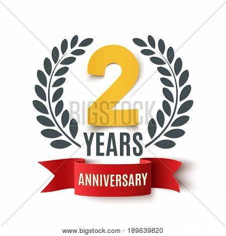 Two years anniversary design. Background with red ribbon and olive branch on white. Greeting card, poster or brochure template. Vector illustration.