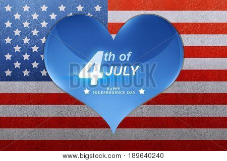 Happy Independence Day Greeting On Blue Heart