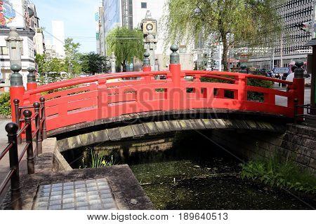 KOCHI, JAPAN - MAY 21, 2017: Harimaya Bridge in Kochi town, Japan. Featured in a famous Kochi Yosakoi song about the forbidden love of a Buddhist priest