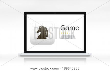 Graphic of laptop with chess icon game online
