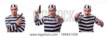 The man prisoner with gun isolated on white