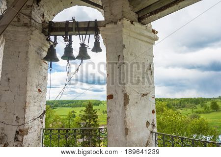 Beautiful panorama of the village of Mikhailovskoye from the bell tower of the Church of the Holy Archangel Michael and the bodiless hosts.