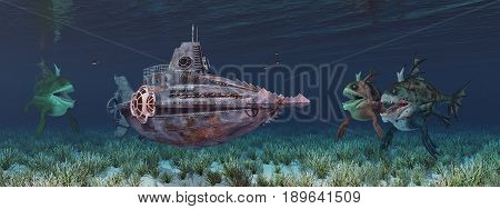 Computer generated 3D illustration with fantasy submarine and sea monsters