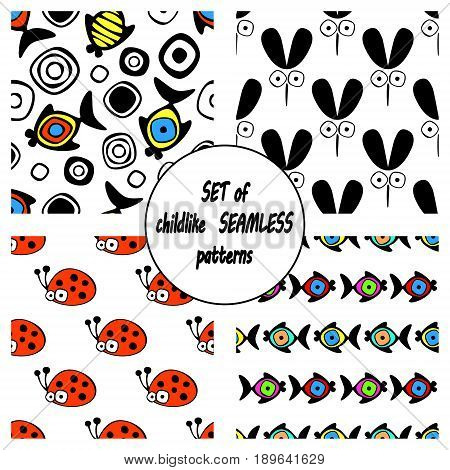 Set Of Vector Seamless Decorative Pattern With Hand Drawn Ladybug, Mosquito, Fish. Cute Childlike Ba
