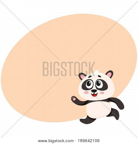 Cute and funny smiling baby panda character running, hurrying somewhere, cartoon vector illustration with space for text. Cute little panda bear character, mascot running fast