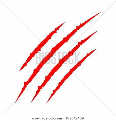 Red bloody claws animal scratch scrape track. Cat tiger scratches paw. Four nails trace. Funny design element. Flat design. White background. Isolated. Vector illustration