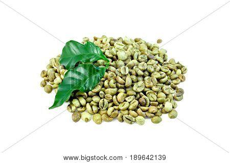 Coffee Green Grain With Leaf