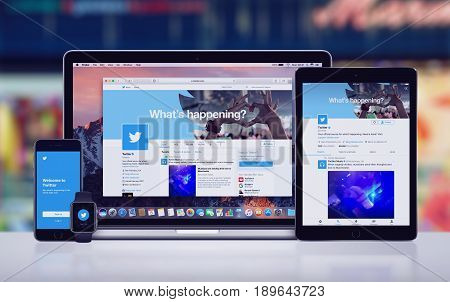 Varna, Bulgaria - May 23, 2017: Twitter on the Apple MacBook Pro, Twitter app on iPad Pro, Twitter splash screen with logo on iPhone 7 and Twitter notification icon on Apple Watch. Office desk concept