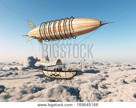 Computer generated 3D illustration with a fantasy airship over the clouds