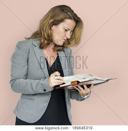 Businesswoman Document Stress Working Portrait