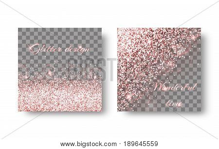 Glitter sparkle background with bright light. Christmas ornaments on a transparent backdrop.